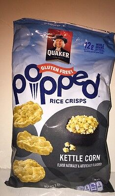 Quaker Gluten Free Popped Rice Crisps Kettle Corn 3.52 Oz Bag
