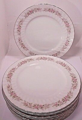 "Set / 8 Dansico Teahouse Rose 10 1/4"" Dinner Plates Fine China Japan Good"