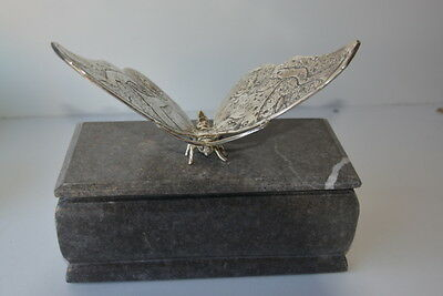solid marble grey w/ silver brass butterfly  on top cremation funeral urn