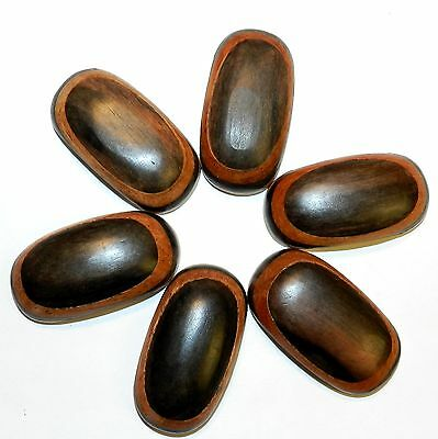 W737 Double-Hole Dark Red & Light Brown Layered Wood Flat Oval 43x23mm Bead 9pc