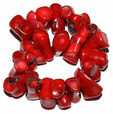 CRL266f Red Bamboo Coral 12x9-22x14mm Freeform Nugget Branch Beads 8""
