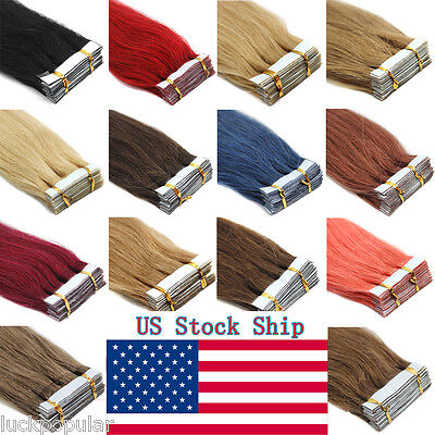 """16""""18""""20"""" Seamless Tape In Weft Remy Human Hair Extensions Tape-In Hair 20-60Pcs"""