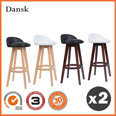 "2 x ""Dansk"" Wooden Swivel Bar Stool Kitchen Dining Chairs PU Leather"