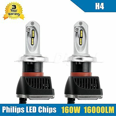 2x H4 160W 16000LM High Low Beam LED Headlight Kit PHILIPS Chip Bulb Lamp White