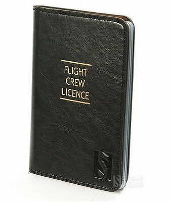 Flight Crew License black Leather Case ID Holder for Pilot best gift