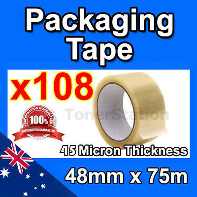 Wholesale 108 Rolls Clear Packing Packaging Tape 48mm x 75 meter High Quality