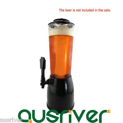 2.5L Beer Machine Beverage Dispenser Ice Tube for Wine Juice Soda Water Black