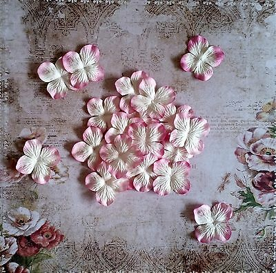12 x 4.5cm Mulberry Paper Flowers *Pink & White* Scrapbooking, Cardmaking, etc