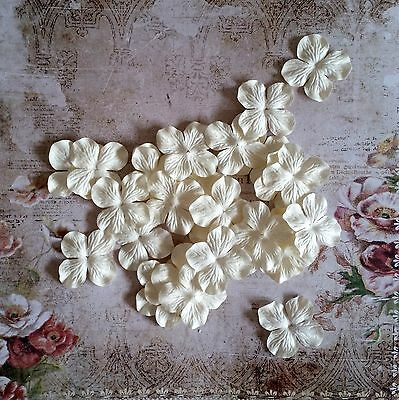 12 x 4.5cm Mulberry Paper Flowers *White* Scrapbooking, Cardmaking, etc