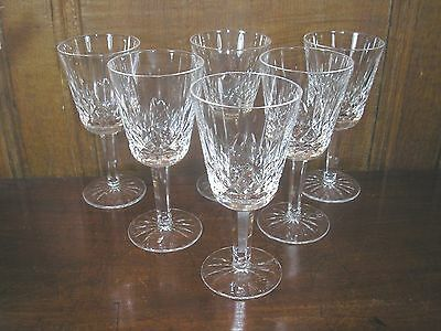 """Excellent Waterford LISMORE  SET OF 6 WINE GLASSES - 14.2cms - 5.5"""" - signed"""