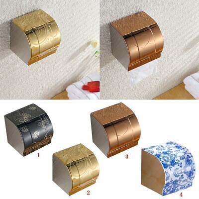 Bathroom Stainless Toilet Towel Roll Paper Tissue Holder Case Cover Lid Mounted