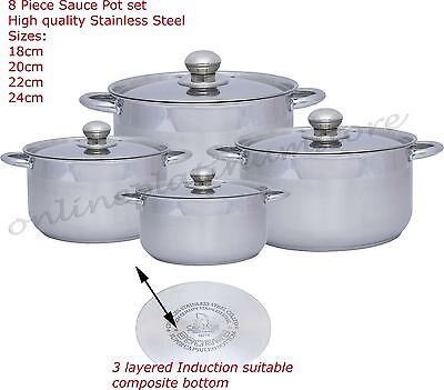 8 Piece High Quality Stainless Steel Sauce Pot Set Cookware Kitchen Induction