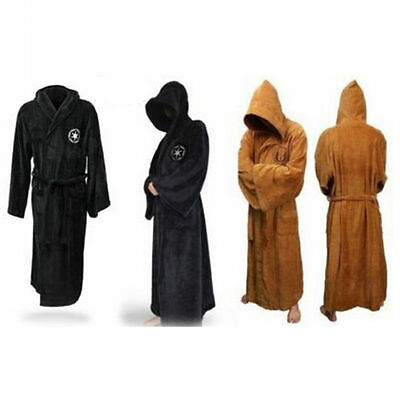 Halloween Adult Star Wars Jedi Soft Fleece Hooded Brown Bathrobe Gown Bath Robe.