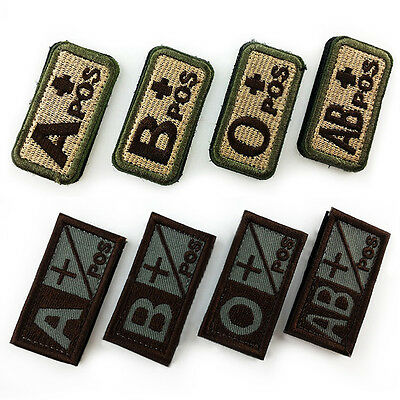 Military Blood Type A B O AB POS Embroidered Hook Patch Tactics Armband Badge XC
