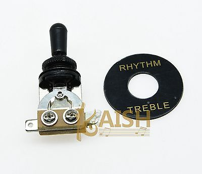 Black Guitar 3 Way Toggle Switch w/ Black Tip and Plate for Epiphone LP SG