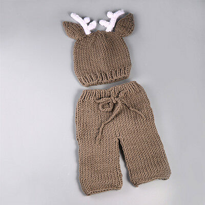 Newborn Baby Crochet Knit Costume Photo Photography Prop Outfits Brown Deer WL