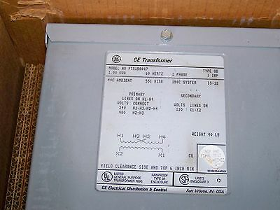 1 KVA 480x240 to 120v single phase distribution transformer 9T51B8007 GE