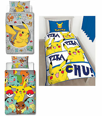 Kids Character Pokemon Go Single Rotary & Panel Duvet Cover Brand New Gift