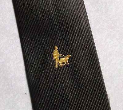 TOOTAL ONE MAN AND HIS DOG TIE VINTAGE RETRO 1970s 1980s BROWN GOLD CREST