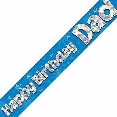 Happy Birthday Dad Foil Holographic Banner Party Decoration 2.7m Blue Silver