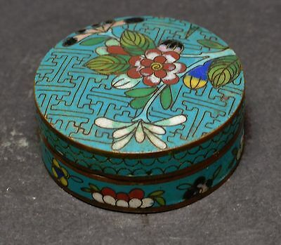Antique Chinese Cloisonne Trinket Box ~ 2.25 '' across~