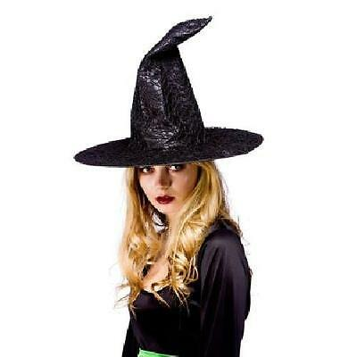 Halloween Wiches Hat - Black Satin with Net Fancy Dress Adult One size Costume