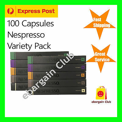 100 Capsules Nespresso Coffee Variety Pack Mixed Pod Express Post