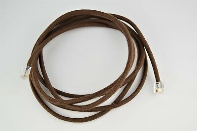 Vintage Telephone Cloth Covered Handset Cord - Brown - Modular - SKU - 30005