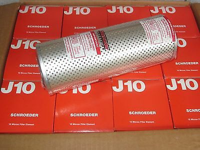"New Lot of (12) Schroeder J10 10-Micron Hydraulic Filter Element 9"" x 3-1/2"" Dia"