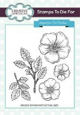 CREATIVE EXPRESSIONS Cut Mounted STAMPS TO DIE FOR Sue Wilson CHRISTMAS ROSE 728