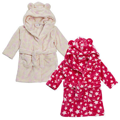 Baby Toddler Girls Cute Star Print Hooded Fleece Dressing Gown Bath Robe Soft UK
