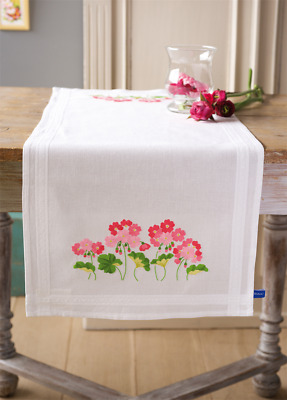 Vervaco Geraniums Table Runner Embroidery Kit
