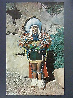 North American Indian Chief Full Dress Vintage Color Chrome Postcard 1950s