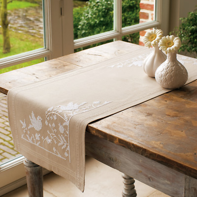 Vervaco White Silhouette Table Runner Embroidery Kit