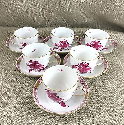 Herend  Demitasse Cup & Saucer Chinese Bouquet Raspberry Set of 6 Pink China