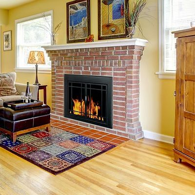 Pleasant Hearth Glass Fireplace Door Easton Black Large EA-5012 Mesh Screens New