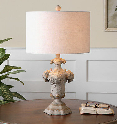 Shabby French Chic Tuscan Antique White Gold Linen Drum Shade Cassano Table Lamp