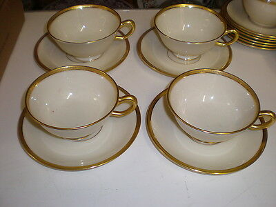 Lenox TUXEDO 4 Cups & Saucers - Gold Backstamp