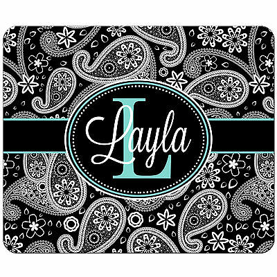 Personalized Mouse Pad Black Paisley Teal Blue Monogrammed Rectangle Mousepad