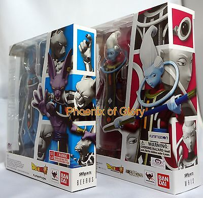 New Bandai Tamashii S.H Figuarts Dragonball Z Whis And Beerus Set USA