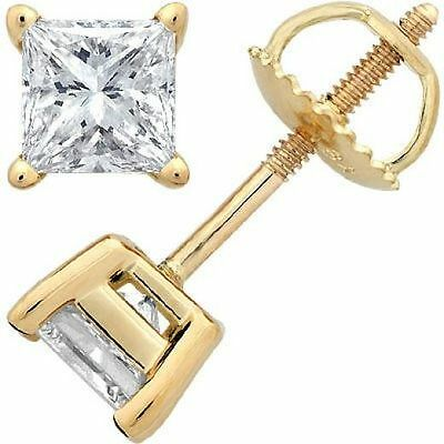 1.00CT Princess Cut Solitaire Brilliant Cut Earrings 14k Yellow Gold