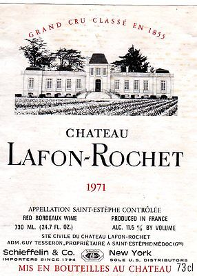 Original Vintage 1971 CHATEAU LAFON-ROCHET Wine LABEL France Bordeaux