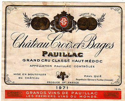 Original Vintage 1971 CHATEAU CROIZET-BAGES Wine LABEL France Bordeaux Medoc
