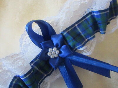 Douglas Scottish Tartan Wedding Garter,White Lace & Royal Blue Ribbon & Flower.