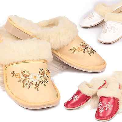 Ladies Women Warm Sheep Wool Leather Slippers Mules Big Size 3 4 5 6 7 8 9 10
