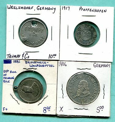Lot of 4 Different German Tokens & Medals
