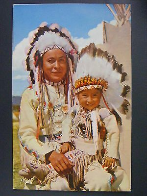 Chief & Papoose In Full Dress Color Chrome Postcard 1950s Vtg