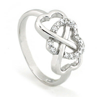 925 Genuine Sterling Silver Infinity Heart Cubic Zirconia Ring | US Seller