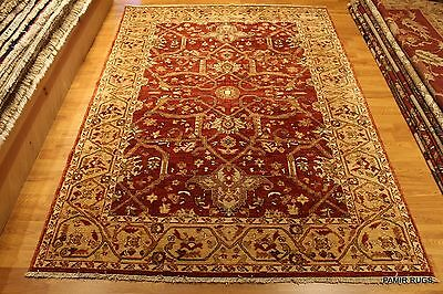 Top Quality Rust & Gold Handmade knotted Persian Heriz Serapi Design Elegant Rug