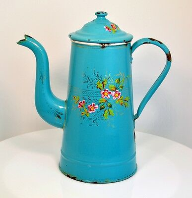 French Aqua Floral Enamelware Coffee Pot Graniteware Aqua Pink Green Gold c 1800